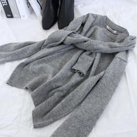 Scarf sleeve knit(Color:Gray)