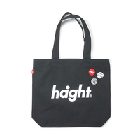 HT-G187008 / ROUND LOGO CANVAS TOTE BAG - BLACK