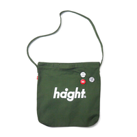HT-G187007 / ROUND LOGO CANVAS SHOULDER BAG - OLIVE