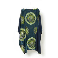 "DK16-YZ-O05/""YUZEN"" Print Rayon Velvet Oversized Tunic"