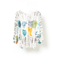 "DK16-CS01-T04/""Graze"" Print Smooth Jersey Twisted sleeve Tops"