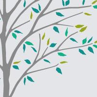 。:*木とつばめ*:。グリーン【Lサイズ】高級ウォールステッカー転写タイプ
