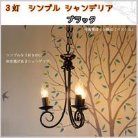 照明 ライト 3灯シャンデリア シンプル ブラック 白熱電球付き アンティーク カフェ ディスプレイ プレゼント JR