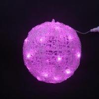 イルミネーション ディスプレイ 飾り 照明 ライティング クリスマス  LEDクリスタルボールライト20cm【L3D222P・ピンク色】CR-87