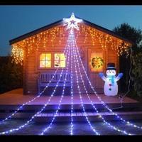 LED イルミネーション 6m 420球 ディスプレイ 飾り 照明 ライティング クリスマス ドレープライト スター付 星 庭 ガーデン 家 白 青 電球色 CR-37