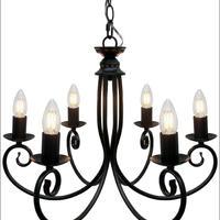 シャンデリア 6灯 白熱電球付 照明 ブラック インテリア 灯り シンプル ディスプレイ サロン JR (CD-030BK )