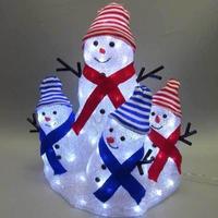 スノーマン ファミリー LED イルミネーション ディスプレイ 飾り 照明 ライティング クリスマス  雪だるま 【 L3D325 】 CR-82