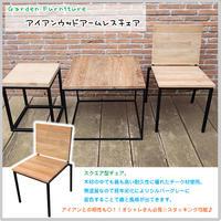 アイアンウッドアームレスチェア 椅子 ガーデンファニチャー 庭 屋外 室内 天然木 チーク スクエア スタッキング可能 JB-69(34262)