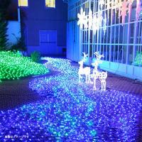 LED イルミネーション ネットライト 道 点滅 ディスプレイ 飾り 照明 ライティング クリスマス ミルキーウェイ 【黄緑×青】 庭 ガーデン 家 CR-39 ( 2C180YGB2 )