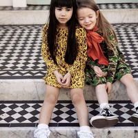 mini rodini ミニロディーニ BASIC LEOPARD LONG SLEEVE DRESS ワンピース 定価$70