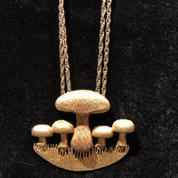 Vintage Gold  Plated Mushroom Pendant  Necklace