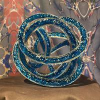 Vintage Blue Spiral Art Glass