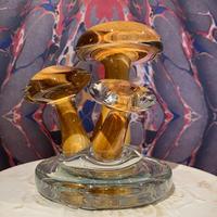 Vintage Murano Mushroom Art  Glass   ~light brown~