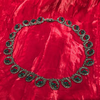 Antique 1800's  Sterling Silver Jade Necklace