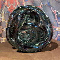Vintage Gray  Spiral Art Glass