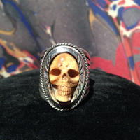 Vintage Water Buffalo Bone  Skull  Ring