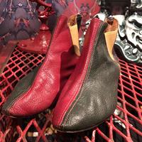 Vintage 60's Crazy Color Leather Short Boots   【Size:7】