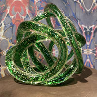 Vintage Green Spiral Art Glass