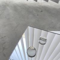 サークルブローチ・ホワイト / 気泡ガラス //CIRCLE BROOCH ・WH/CL