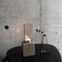 【7/14再入荷】ハクガラス器+ウッドキューブ/ 高さ18cm/ブラック・シルバー//HAKU GLASS CONTAINER & WOOD CUBE