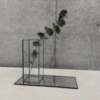 【11月中旬出荷予定】「ドライ植物付き」ハクガラス器+ミラートレーセット/M 高さ13cm/ブラック・シルバー //HAKU GLASS CONTAINER & MIRROR TRAY