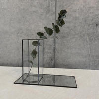 HAKU GLASS CONTAINER & MIRROR TRAY【薄ガラス器+ミラートレーセット/M 高さ13cm/ブラック・シルバー】