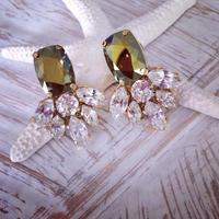 Crystal iradesant Green Swarovski pierced earring