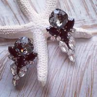 Black matBlack crystal Swarovski pierced earring