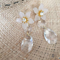 crystalstone flower pierce earring