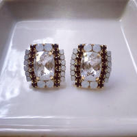 Silver Crystal pierced earrings
