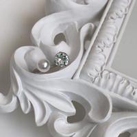 Imitation pearl silver ring