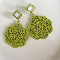 Right Green  wood pierce  earring