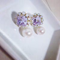 Two-way purple pierced earring