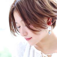 Big silhouette pierce/earring  RED