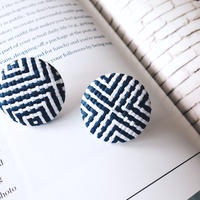 rattan navy pierce,earring