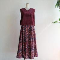 Blossom柄コーデュロイタックフレアースカート/K5-1602192