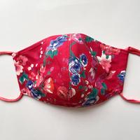布マスク 赤ヴィンテージ花柄
