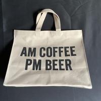 """🟡限定発売! DRESSSEN MARKET BAG [◉LARGE]  MBSBL15  """"AM COFFEE PM BEER """"   (サンドベージュカラー)"""