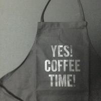 "⭕️[新発売]]DRESSSEN    ADULT APRON  DB(BLK)7 ""YES! COFFEE TIME""BLACK COLOR"