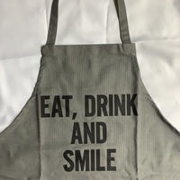 "[限定発売]DRESSSEN WPAGR1 DAY USE W POCKET  APRON   ""EAT,DRINk AND SMILE (GREY COLOR"