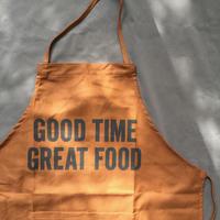 "DRESSSEN DR(BRN) 15APRON  ""GOOD TIME GREAT FOOD""BROWN  COLOR⭕️ラスト一点です"