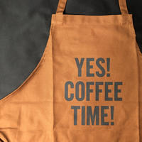 "⭕️[新型エプロン] DRESSSEN    DAY USE W POCKET  APRON   WPAB4 ""YES! COFFEE TIME!"""
