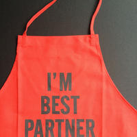"DRESSSEN DR(RED) 11""I'M BEST PARTNER""  APRON RED  COLOR"