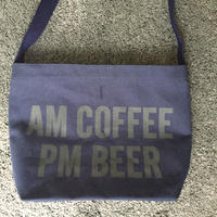 "DRESSSEN DBN5 ""AM COFFEE PM BEER"" SHOULDER BAG  NAVY COLOR"