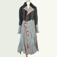 KOHSHIN SATOH レディース 赤パイピングシャーリングコート 〔KT-817〕(Black ×Grey-36)