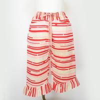 gotoasato Silk Frilled Trousers 3〔HP-TR03Z〕(02:白地にピ赤グレーの変わり縞)
