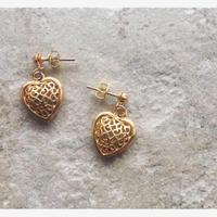 Tiny heart vintage pierced