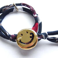 Smiley with wavy mouth Bracelet / Navy Aloha