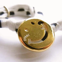 Smiley with wavy mouth Bracelet / White Navy Dot