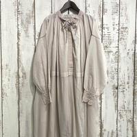 100'S × 150'S KHADI NECK GATHERED DRESS INMDS21044 / maison de soil
